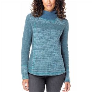 PrAna Eleanor Wool Mock Neck Teal Pullover Sweater